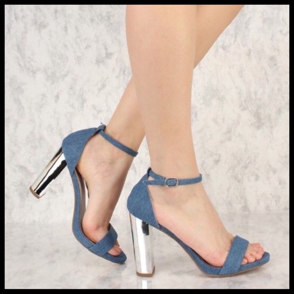 39fdff61ada Blue Denim Mirror Chunky High Heels